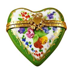 GREEN HEART -Limoges Import Boxes-Valentine s Day