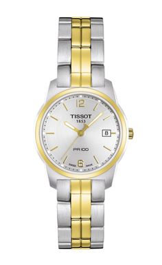 TISSOT PR 100 Quartz Lady  True to its name, the Tissot PR 100 is certainly Precise and Robust - and hugely popular with stylish men and women everywhere. These models combine tradition with up-to-the-minute looks using quality materials on the outside and Swiss reliability on the inside. This iconic watch family offers lady and gent sizes to prevent any rivalry. Although, as far as style is concerned, the race is on!
