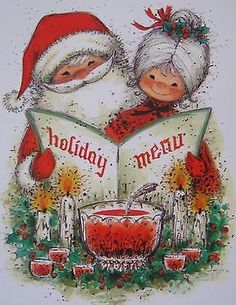 Vintage Unused Christmas Card Mr Mrs Santa Punch Bowl Recipe Inside Greeting