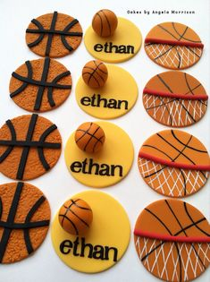 Basketball cupcake toppers by CakesbyAngela on Etsy Fondant Cupcake Toppers, Cupcake Cookies, Basketball Cupcakes, Basketball Party, Basketball Videos, Basketball Birthday, Basketball Jersey, Basketball Players, Basketball Shoes