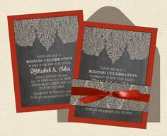 Indian Wedding Invitations Intricate Henna  by InvitationShop, $2.40