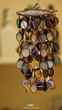 Make windchime with bottle caps