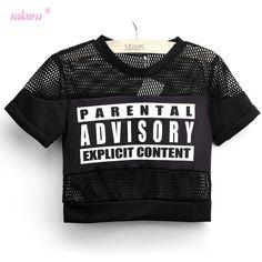 Sakura summer sexy crop top t shirt women PARENTAL ADVISORY printed t-shirt cropped short sleeve mesh women woman tops