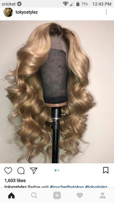 Full Lace Wig Ombre Honey Color Wave Human Hair,If you contact us before double we can give you Strawberry Blonde Hair Dye, Dyed Blonde Hair, Curly Hair Dye, Black Curly Hair, Curly Wigs, Wig Styles, Curly Hair Styles, Natural Hair Styles, Ash Ombre Hair