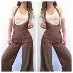CUTE LINEN OVERALLS HALTER TIE JUMPSUIT ROMPER These overall pants are so cute they are a dark olive green linen with a halter tie and pockets. A comfy little casual romper, wear with any top you like underneath. Pants Jumpsuits & Rompers