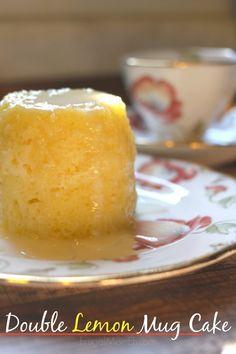 Double Lemon Mug Cake == Frugal Mom Eh (Cake: 3 T flour, 1/4 tsp. baking powder, 1/8 tsp. salt, 1 egg, 3 T sugar, 2 T oil, 1 tsp. lemon zest, 1-1/2 T fresh lemon juice  //  Icing: 1/3 C powdered sugar, 1-1/2 tsp. fresh lemon juice)
