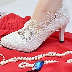 Women's Shoes Lace Leatherette Spring Fall Comfort Wedding Shoes Round Toe Rhinestone Imitation Pearl Appliques for Wedding Party & 2019 - € Converse Wedding Shoes, Wedge Wedding Shoes, Bridal Wedding Shoes, Bridal Heels, Bride Shoes, Wedding Pumps, Floral Wedding, Wedding Shoes Online, Designer Wedding Shoes