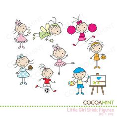 Little Girl Stick Figures Clip Art