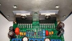 Power audio amplifier module using integrated circuit in modular mode with 2 chips in parallel, including compact printed circuit board Circuits Electronic Circuit Projects, Electronic Engineering, Electronics Projects, Audio Amplifier, Hifi Audio, Power Supply Circuit, Simple Circuit, Electrolytic Capacitor, Printed Circuit Board