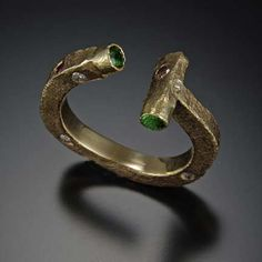 Etruscan Ring - 14K gold, brown and white diamonds, Tsavorite garnets - $1595