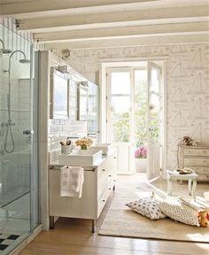 coastal contemporary children's bath.  nautical wallpaper, modern vanity, subway tile, french doors, and natural wood floors.
