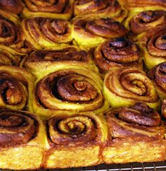 Pumpkins are plentiful and so I am baking with them again !   Here is a healthier version of my Cinnamon Buns because not only does it hav...