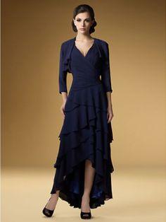 Azul Navy Trapézio/Princesa Decote em V Sem Mangas Plissada Comprimento Médio Vestidos Mãe da Noiva for 406,20€