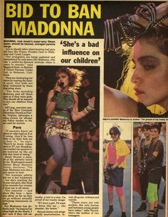 "madonnascrapbook: ""BID TO BAN MADONNA: 'She's a Bad Influence on our children.' The Globe: June 4, 1985 """