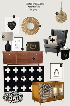 black and white & gold nursery