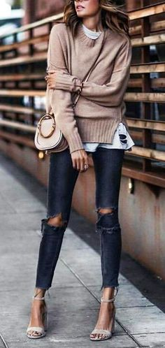 #fall #outfits women's brown sweater; distressed blue denim skinny jeans; gray ankle strap open toe high heels
