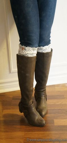 Boot cuffs are all the rage and look so cute on. I love seeing all the different chunky knit variations, including the ones made from old sweater sleeves and patterns for knitting your own. These l...