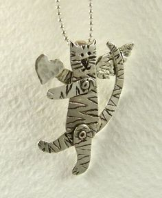 Up Cycled Sterling Cat Pendant - Cat Angel Stella Shares Her Love - Moveable - Cat - Empowerment -Echo Friendly - Art Jewelry Pendant - 1781 Cat Jewelry, Jewelry Art, Crazy Cat Lady, Crazy Cats, Kinds Of Cats, Silly Cats, Cat Necklace, Cat Accessories, Cat Boarding