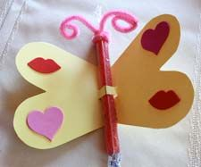 Valentine's Day Butterfly made with a pencil.  Nice for a non-candy gift/card.