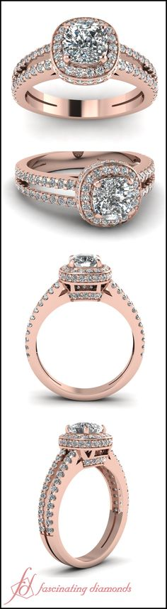 Cushion Cut and Round Diamond 14K Rose Gold Engagement Ring In Floating Prong Setting || Halo Split Ring