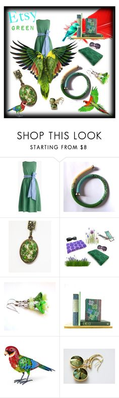 """""""Etsy Green"""" by fivefoot1designs ❤ liked on Polyvore featuring J.Crew and Improvements"""