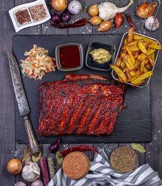 Sweet BBQ Rippchen mit der wel… Dairy, Cheese, Food, Easy Meals, Essen, Recipies, Meals, Yemek, Eten