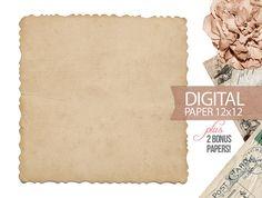 Digital Paper - 12x12 Scrapbook Antique Background Paper Old Vintage Paper - Digital Paper PLUS 2 Bonus Papers - Print - INSTANT DOWNLOAD