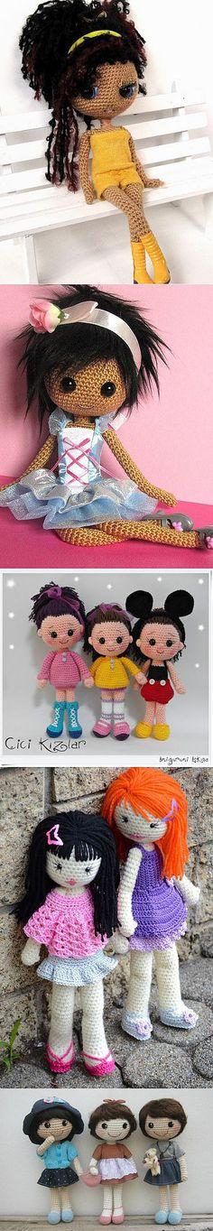 Вязаные куколки амигуруми.