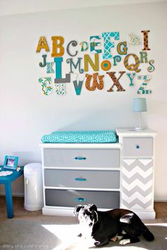 Baby shower idea: decorate alphabet letters for the nursery