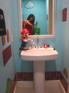 Super Mario Bros Bathroom so cute for a boys bathroom Super Mario Room, Video Game Decor, Super Mario Brothers, Game Room Design, Mario Bros., Upstairs Bathrooms, Room Interior Design, Bathroom Kids, Console
