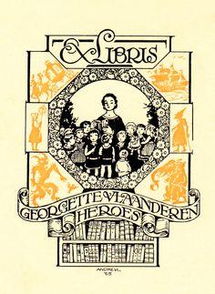 Ex Libris by André Vlaanderen Ex Libris, Vintage Logo Design, Dutch Artists, Letterhead, Logo Design Inspiration, Paintings, Plates, Illustrations, Colors