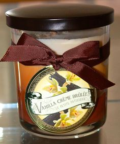 DW HOME VANILLA CREME BRULEE CANDLE NEW GLASS BALL CREAM SOY WAX 15.58OZ 2 WICK  #DWHOMEINC