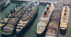 Rare color photo showing some of the greats in New York during WW2. Left to right; Aquitania, Queen Mary, Normandie, and Ile de France. Aquitania and Queen Mary have already been repainted in wartime gray for troop ship duties...