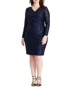 Lauren Ralph Lauren Plus Long Sleeve Sequined Lace Surplice Dress Wome