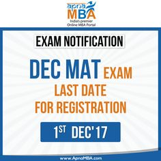 Get registered for Dec #MAT exam. Click on the link below to send your online application   http://qoo.ly/is849  For test preparation. Click here: https://goo.gl/imLUyk  #ExamAlert #2017 #MBA #Dec
