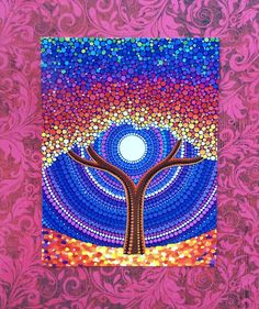 Rainbow Tree Art Postcard