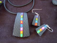 Pendant and Earring set, polyclay