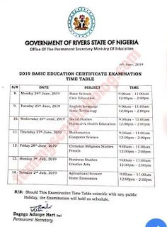 Rivers State Ministry Of Education 2019 Junior Waec Bece Timetable English Lessons Learn English Literature Project