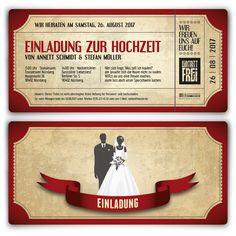 Hochzeitskarten - Vintage Brautpaar in Rot #hochzeit #einladung #hochzeitseinladung #invitation #vintage #wedding #rot #ticket