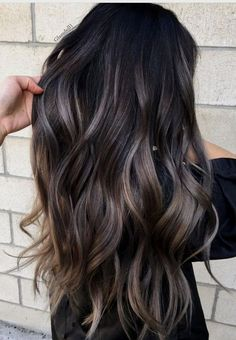 Marvelous gray to brown hair color on long wavy hair