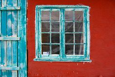 Turquoise Window, Red Wall by jwoodphoto, via Flickr