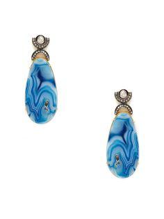 Diamond & Blue Swirl Agate Geometric Drop Earrings