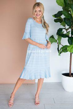 e27c33b5024a6 Denim Striped Modest Dress | Best Place To Buy Modest Dresses - Neesee's  Dresses Bell Sleeve