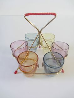 Retro 60s set of coloured shot glasses 6 in original stand breweriana bar party