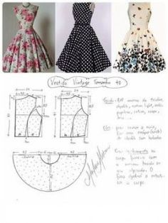Amazing Sewing Patterns Clone Your Clothes Ideas. Enchanting Sewing Patterns Clone Your Clothes Ideas. Vintage Dress Patterns, Barbie Patterns, Dress Sewing Patterns, Clothing Patterns, Vintage Dresses, Skirt Patterns, Pattern Sewing, Sewing Dress, Diy Dress