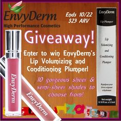 Enter to #win #LipPlumper Volumizing & Conditioning Lip Gloss from EnvyDerm! Ten gorgeous sheer and semi-sheer shades to choose from. $23 ARV; ends October 22 (11:59pm).