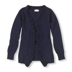 A comfy open cardigan with ruffle trim is just what she needs for school days (school cardigan/Ashe)