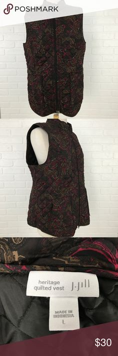 Brown Paisley Quilted Vest J Jill Heritage Women's BRAND                    :J.Jill SIZE                 :Women's Large STYLE                 :Vest - Quilted - Heritage COLOR                 :Brown MATERIAL              :100% Polyester MEASUREMENTS :Chest 22 Condition               : Gently Worn Inventory                : MQ12 B1 J.Jill Jackets & Coats Vests