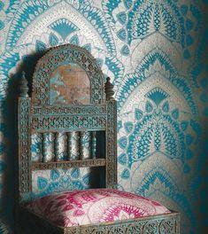 Matthew Williamson Azari Turquoise / Gold Wallpaper extra image