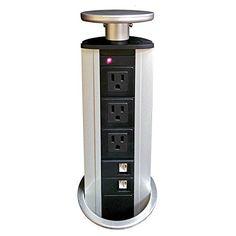 Vertical Tabletop Power Data Center - 3 Power, 2 CAT6 RJ4...